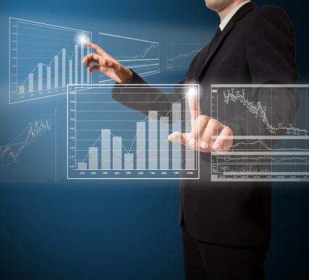 businessman push graph