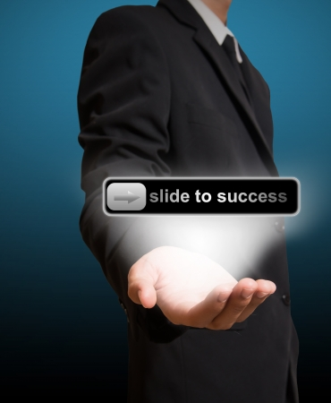 businessman give slide to success