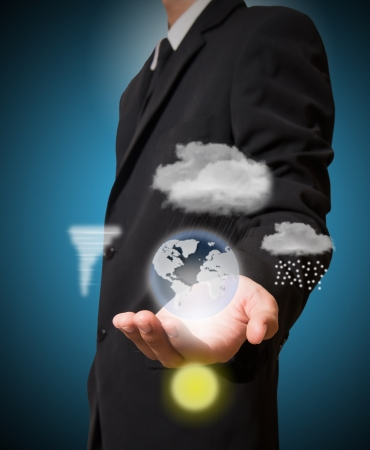 businessman hold weather Stock Photo - 22216588