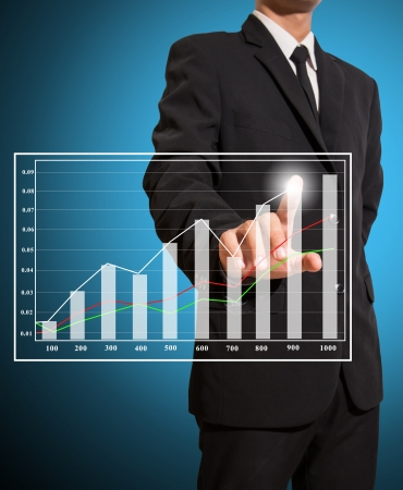 businessman touch graph improve suggest more