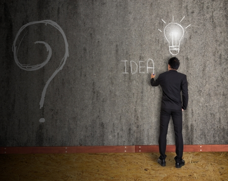 businessman drawing idea on old wall Stock Photo - 22216594