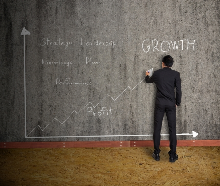 businessman drawing graph and  concept  on old wall photo