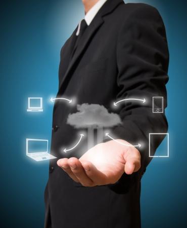 Businessman hold cloud computing