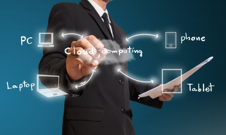 Businessman drawing cloud computing concept photo