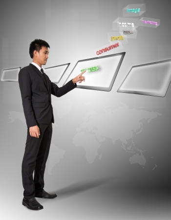 Businessman stand touch on digital screen has plan of business in air