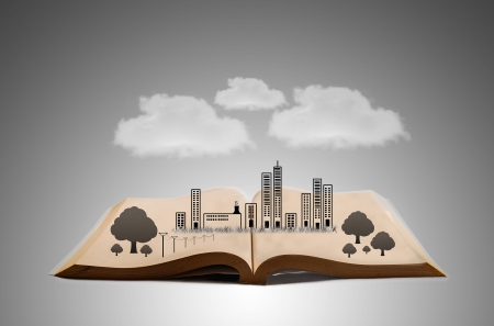city concept on book Stock Photo