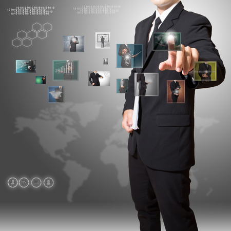 businessman touch digital image photo