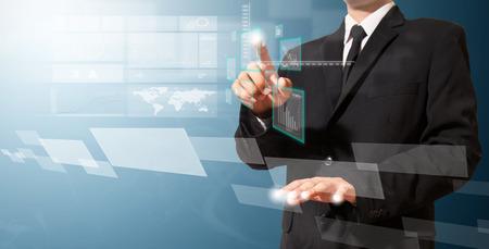 businessman touch high technology screen