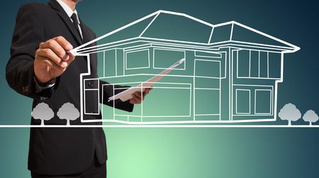 Geschäftsmann Zeichnung Hause Standard-Bild - 27357109