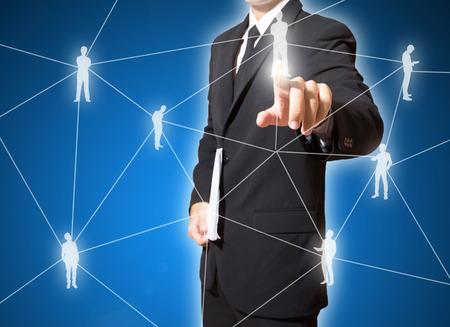 Geschäftsmann Touch-Verbindung von sozialen Netzwerken Standard-Bild - 27357135