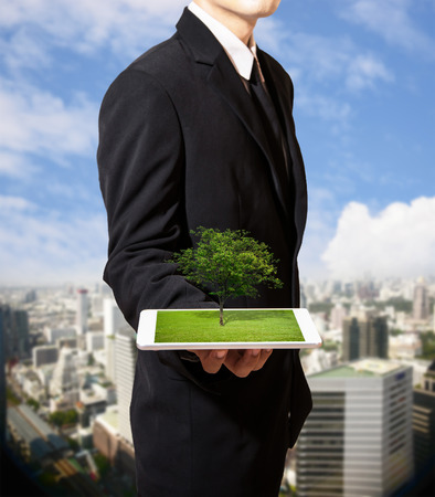 businessman with nature