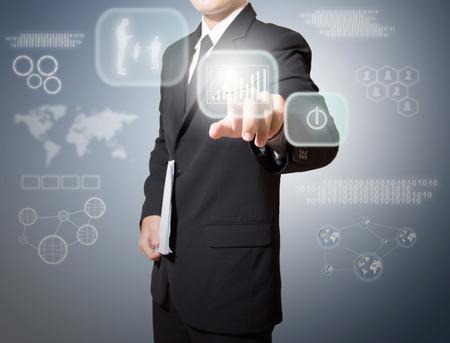 Geschäftsmann Touch-Screen High-Tech- Standard-Bild - 27357141