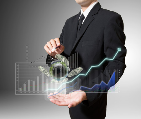 businessman analyze graph