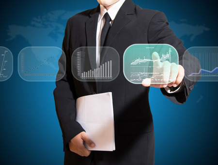 businessman analysis on screen high technology,on screen for icon or image