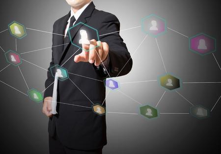 Geschäftsmann-Note zur Verbindung des sozialen Netzwerks Standard-Bild - 27357218