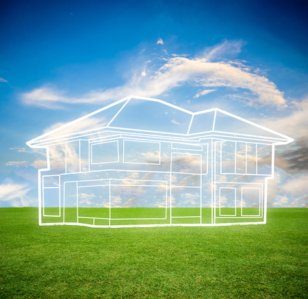 formatting: sky and grass field background Stock Photo
