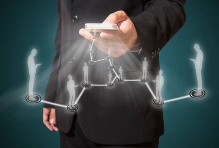 Geschäftsmann und Verbindung von Business, Social Network-Konzept Standard-Bild - 27357226
