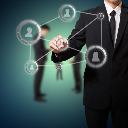 businessman with connection of social network