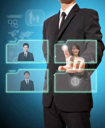 businessman with video conference concept high technology photo