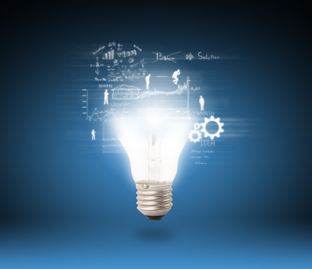 lamp of idea and business concept Standard-Bild