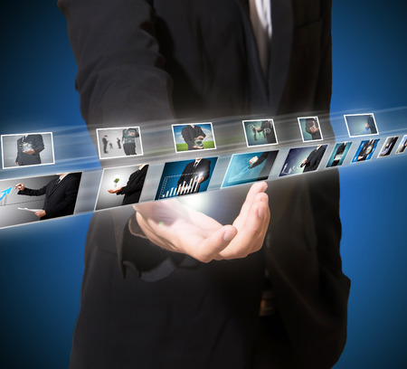 high digital technology image in businessman hand