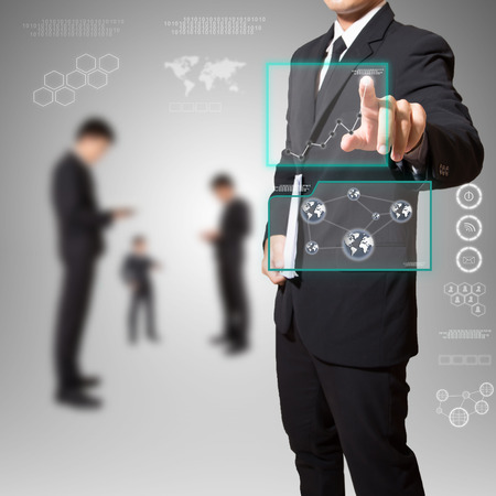 businessman touch screen,in screen for text or image