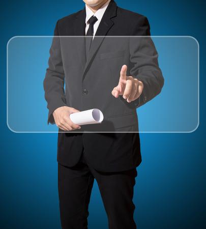 Geschäftsmann Touch Digital-Bildschirm Standard-Bild - 27357298