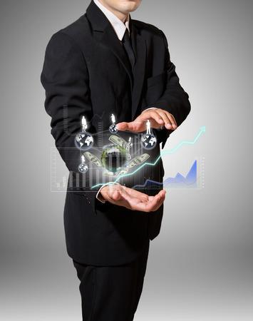 businessman analyze graph and finance on hand
