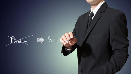 businessman writing solution concept
