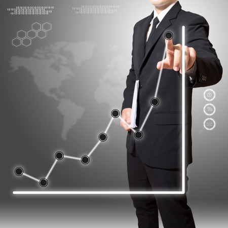businessman analyze graph with digital world map and connection of business