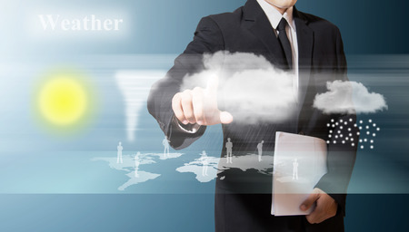 businessman touch for check weather on screen photo