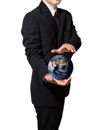 businessman hold and protect the earth