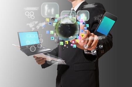businessman analyze graph with technology Standard-Bild