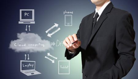 Businessman drawing cloud computing concept Standard-Bild