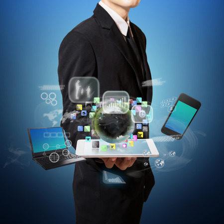 businessman with high technology on hand