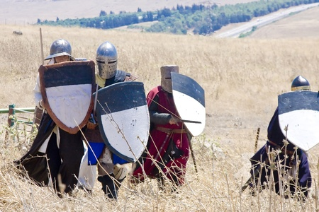 Crusaders attack. During the event of historical reenactment on the historical location of the Battle of Hattin in Israel. Historical reenactment is a popular hobby for history lovers worldwide. The Battle of Hattin (Qarne Hittim) was a crucial fight betw