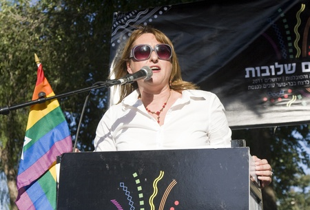 knesset: An Israeli Knesset member is speaking before the participants of the Gay Pride and Social Liberty Parade in Jerusalem, Israel during the preparations for the march.