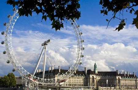 eye  traveller: London Eye in London across the Thames from Westminster Abbey and the Big Ben.