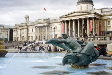The dolphin fountain near the National Gallery in London, UK.
