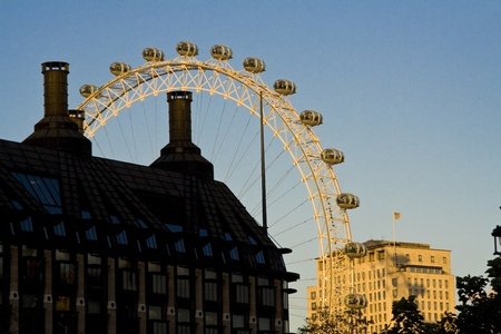 Shot of London Eye in London from a non-usual point in the sunset.
