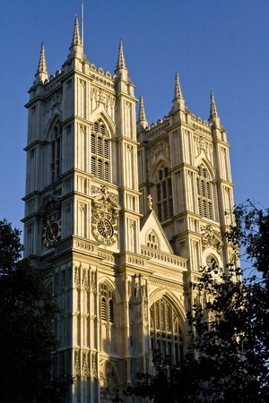 Westminster Abbey facade in the afternoon lighting.