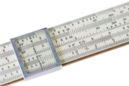 logarithmic: Old scale logarithmic ruler on white
