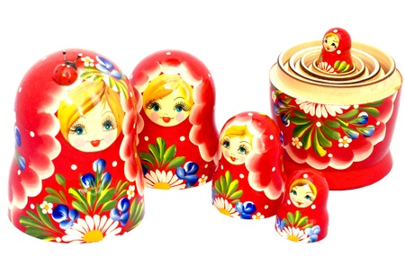 kremlin: Russische traditionele Matryoshka geneste poppen. Stockfoto