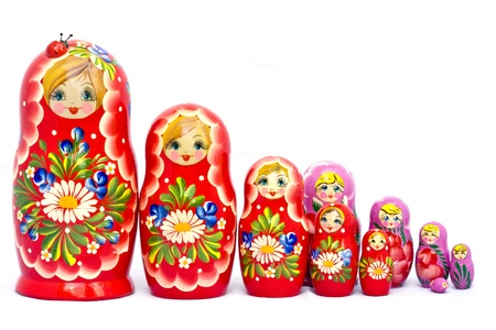 A big family of Russian traditional wooden nested dolls Babushka or Matrioshka.