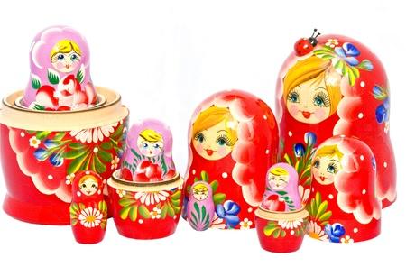 two families of russian retro matryoshka dolls nested. Stock Photo