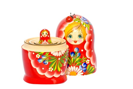 small red matryoshka nested in the big one. Stock Photo