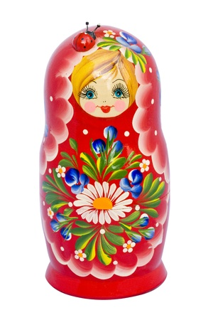 big red matryoshka with a ladybug. Stockfoto