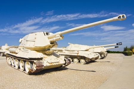 Self-propelled tank hunter from Egypt (T-34 chassis) displayed in the museum Stock Photo