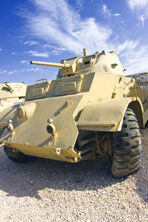 British armored car of the times of World War II in the exhibition in Israeli Tank Museum in Latrun..