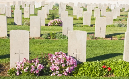 Shot of a cemetery with rows of tombstones with crosses in green grass. photo